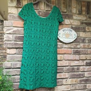 Cluny Very cool green cotton lace shirt dress